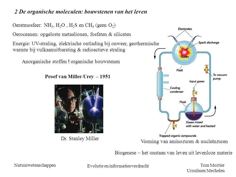 Tom Mortier Ursulinen Mechelen Natuurwetenschappen Evolutie en informatieoverdracht 2 De organische moleculen: bouwstenen van het leven Oeratmosfeer: