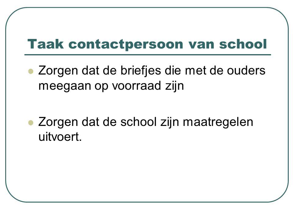 Taak contactpersoon van school Zorgen dat de briefjes die met de ouders meegaan op voorraad zijn Zorgen dat de school zijn maatregelen uitvoert.