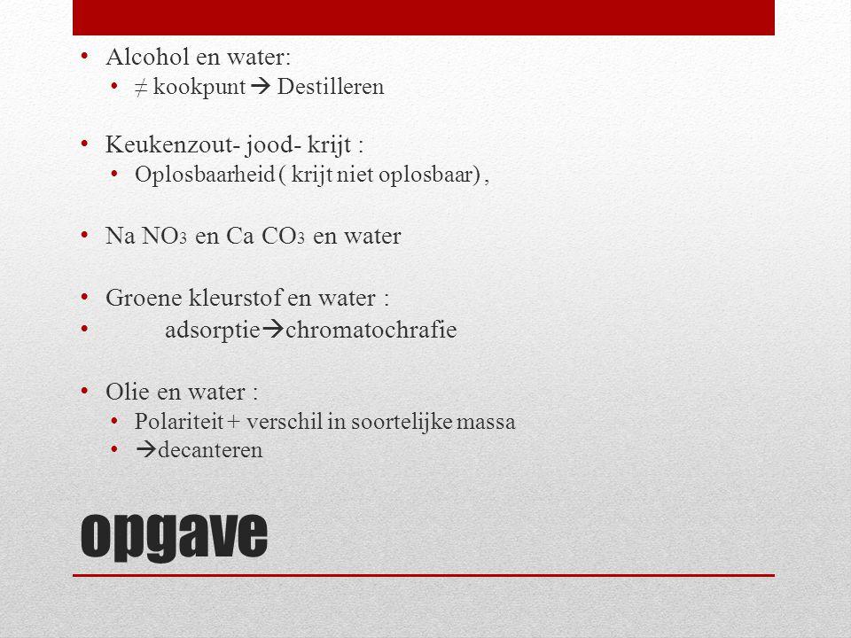 opgave Alcohol en water: ≠ kookpunt  Destilleren Keukenzout- jood- krijt : Oplosbaarheid ( krijt niet oplosbaar), Na NO 3 en Ca CO 3 en water Groene
