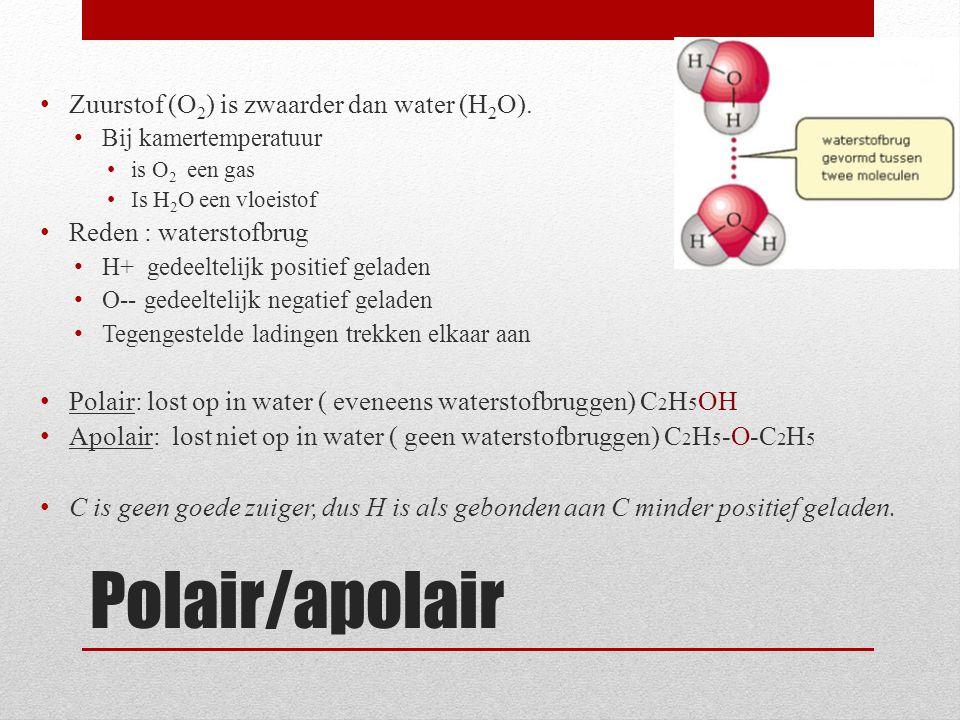 Polair/apolair Zuurstof (O 2 ) is zwaarder dan water (H 2 O). Bij kamertemperatuur is O 2 een gas Is H 2 O een vloeistof Reden : waterstofbrug H+ gede
