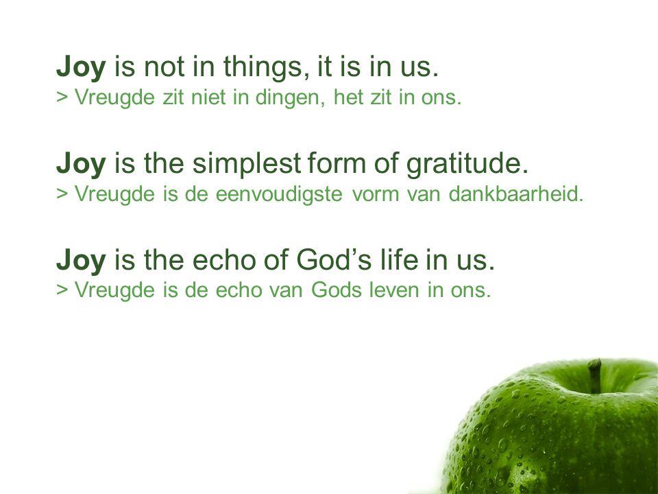 Joy is not in things, it is in us.> Vreugde zit niet in dingen, het zit in ons.