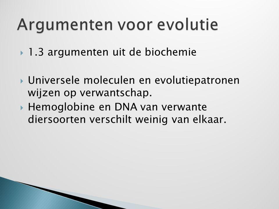  1.3 argumenten uit de biochemie  Universele moleculen en evolutiepatronen wijzen op verwantschap.  Hemoglobine en DNA van verwante diersoorten ver