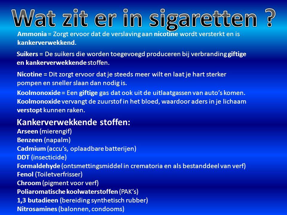 Ammonia = Zorgt ervoor dat de verslaving aan nicotine wordt versterkt en is kankerverwekkend. Suikers = De suikers die worden toegevoegd produceren bi