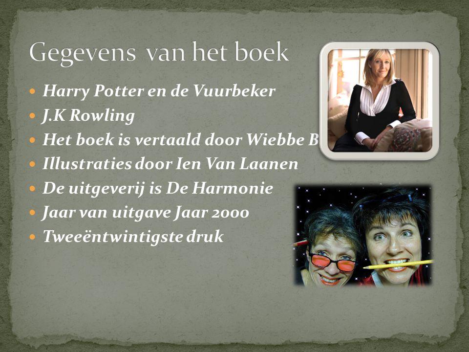 Harry Potter en de Vuurbeker J.K Rowling Het boek is vertaald door Wiebbe B Illustraties door Ien Van Laanen De uitgeverij is De Harmonie Jaar van uit