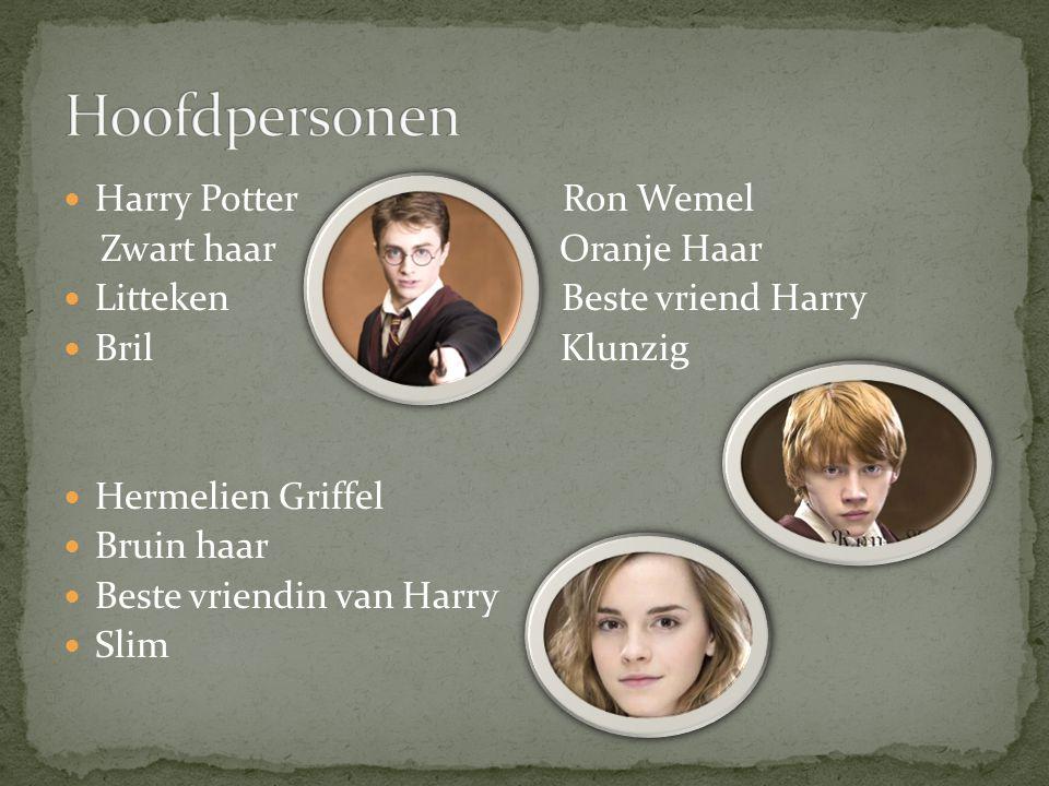 Harry Potter Ron Wemel Zwart haar Oranje Haar Litteken Beste vriend Harry Bril Klunzig Hermelien Griffel Bruin haar Beste vriendin van Harry Slim