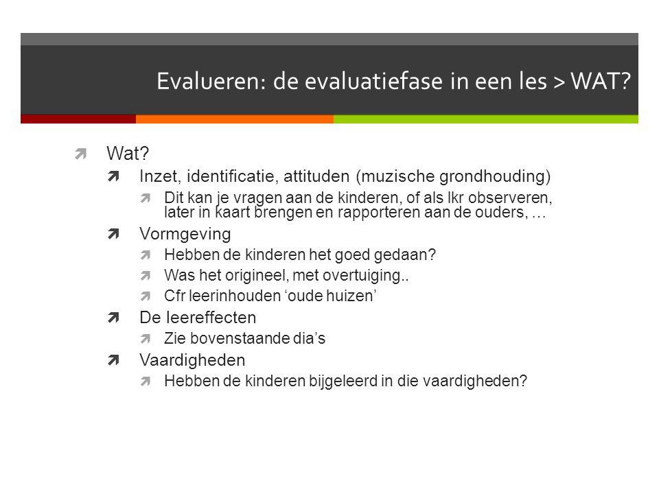 Muzisch evalueren  Muzisch evalueren kan gaan over:  De evaluatiefase in de les  Wat, hoe, werkvormen  De muzische evaluatie van de les/activiteit
