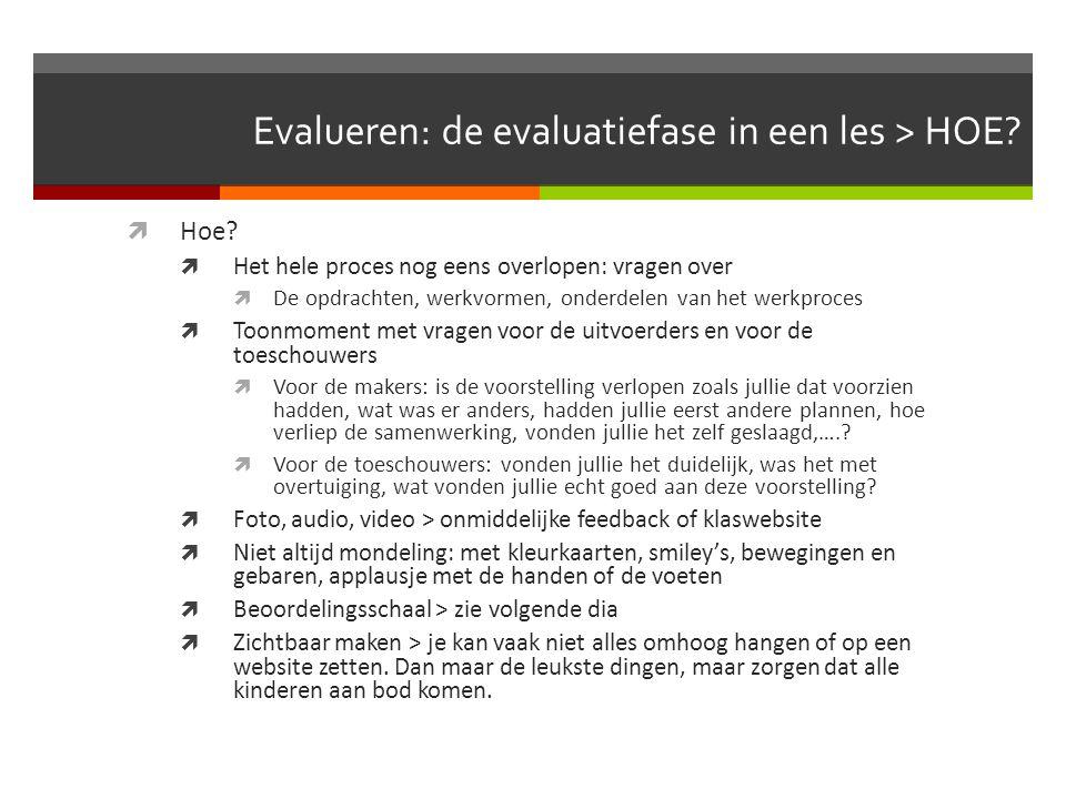 Evalueren: de evaluatiefase in een les > WAT?  Wat?  Inzet, identificatie, attituden (muzische grondhouding)  Dit kan je vragen aan de kinderen, of