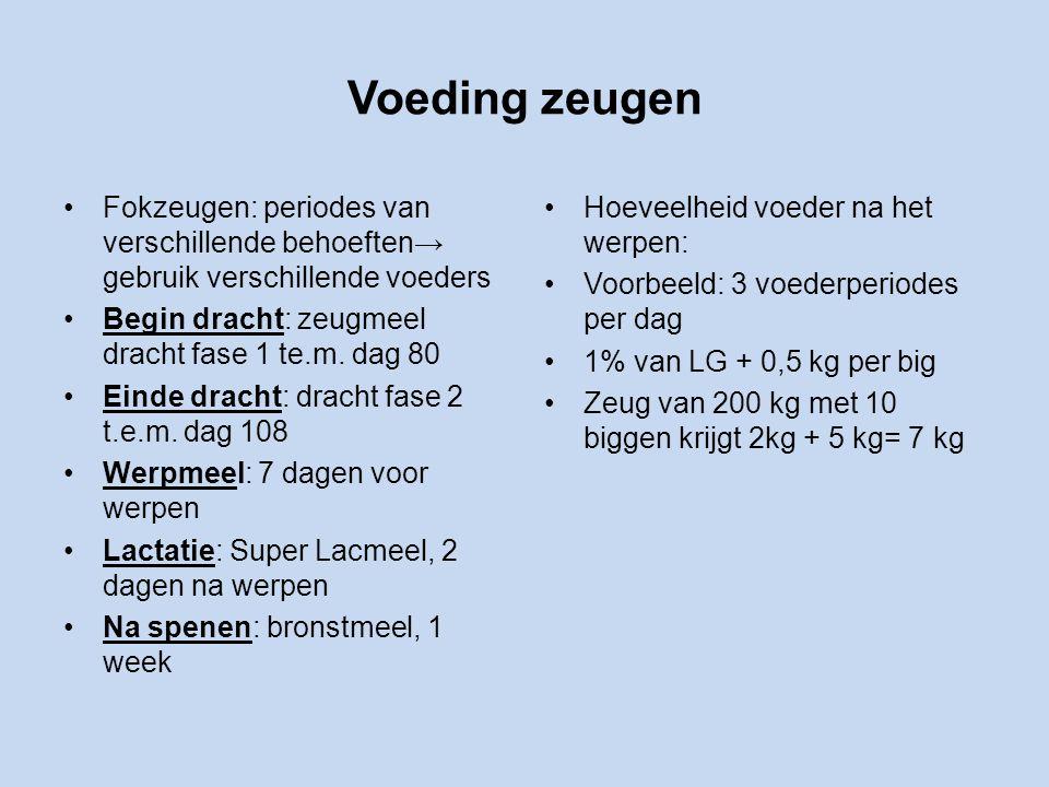 Voeding zeugen Fokzeugen: periodes van verschillende behoeften→ gebruik verschillende voeders Begin dracht: zeugmeel dracht fase 1 te.m.