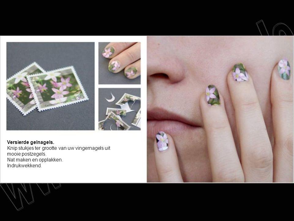 Versierde gelnagels. Knip stukjes ter grootte van uw vingernagels uit mooie postzegels. Nat maken en opplakken. Indrukwekkend.