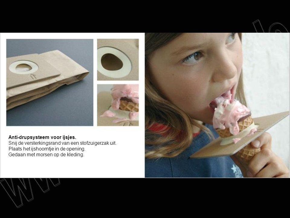 Anti-drupsysteem voor ijsjes. Snij de versterkingsrand van een stofzuigerzak uit. Plaats het ijshoorntje in de opening. Gedaan met morsen op de kledin