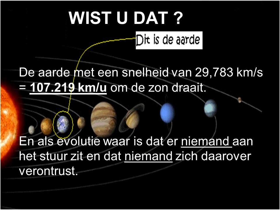WIST U DAT .De aarde met een snelheid van 29,783 km/s = 107.219 km/u om de zon draait.