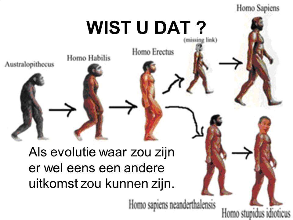 WIST U DAT ? Als evolutie waar zou zijn er wel eens een andere uitkomst zou kunnen zijn.