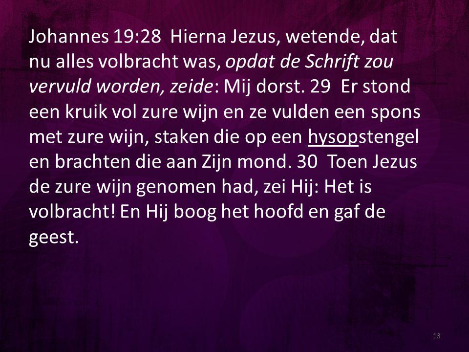 13 Johannes 19:28 Hierna Jezus, wetende, dat nu alles volbracht was, opdat de Schrift zou vervuld worden, zeide: Mij dorst. 29 Er stond een kruik vol