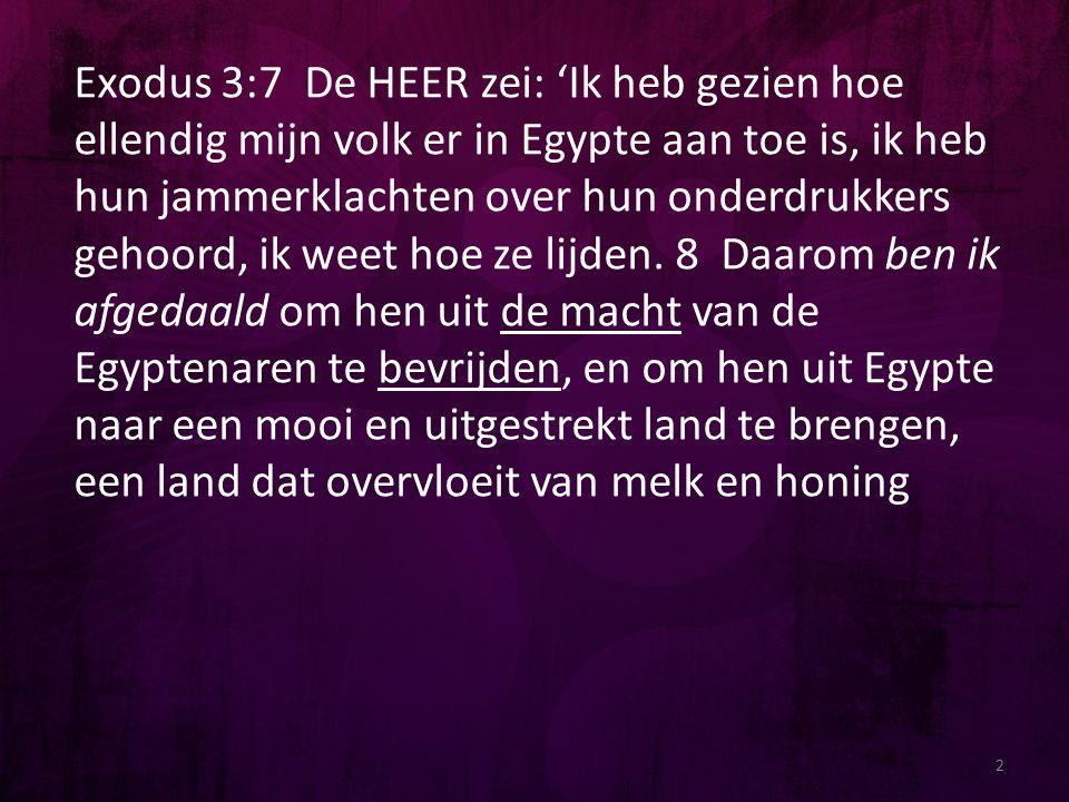 2 Exodus 3:7 De HEER zei: 'Ik heb gezien hoe ellendig mijn volk er in Egypte aan toe is, ik heb hun jammerklachten over hun onderdrukkers gehoord, ik