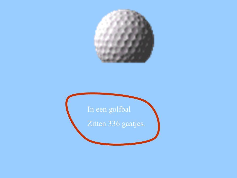 In een golfbal Zitten 336 gaatjes.