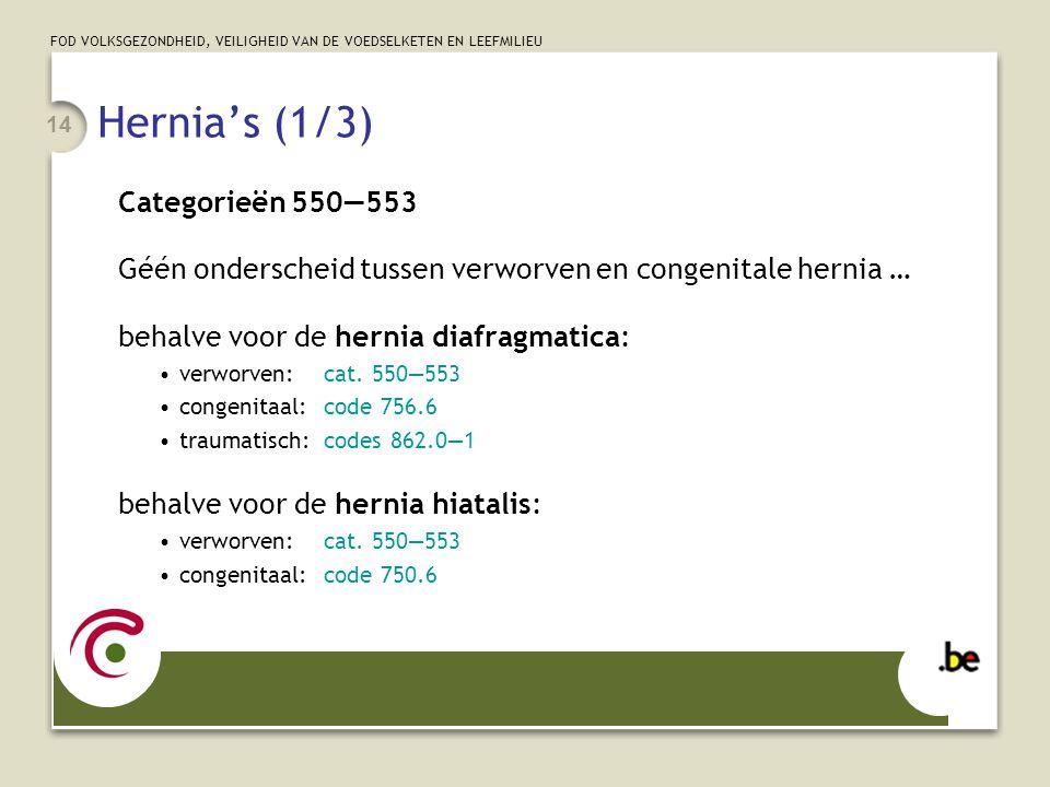 FOD VOLKSGEZONDHEID, VEILIGHEID VAN DE VOEDSELKETEN EN LEEFMILIEU 14 Hernia's (1/3) Categorieën 550—553 Géén onderscheid tussen verworven en congenita