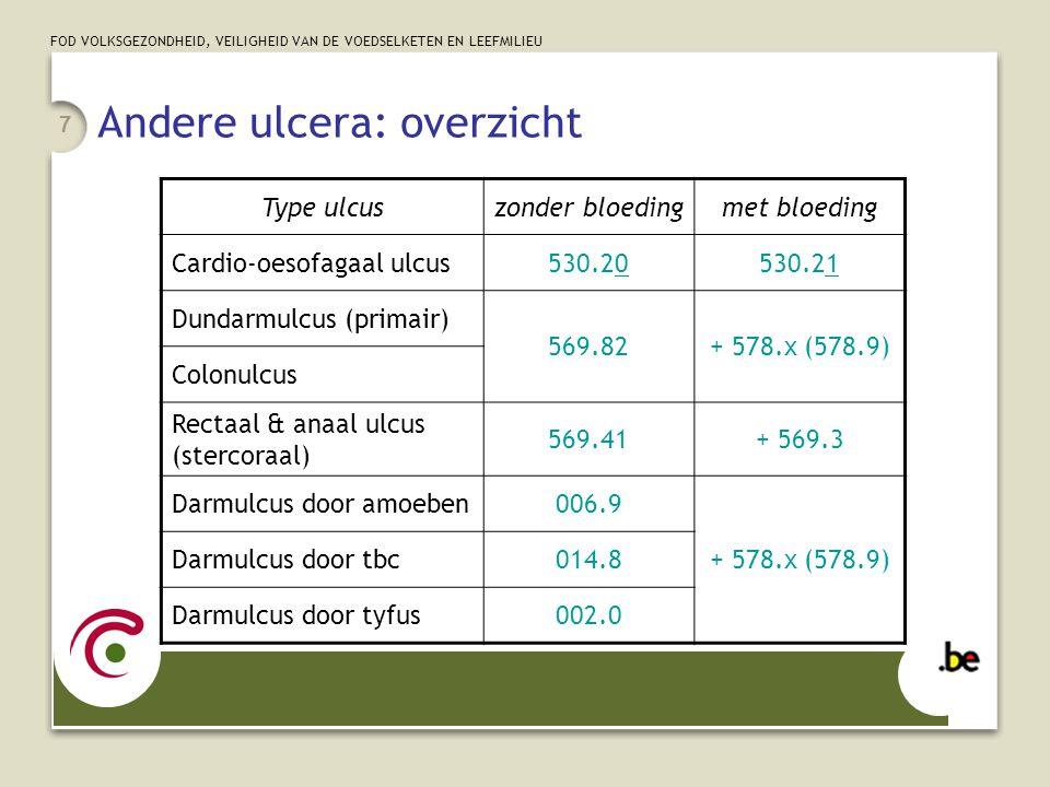 FOD VOLKSGEZONDHEID, VEILIGHEID VAN DE VOEDSELKETEN EN LEEFMILIEU 18 Appendicitis (1/2) 540.9:acute appendicitis, acute caecitis (fulminant, met gangreen, ontstoken, obstructief) 540.1:acute appendicitis met peritoneaal abces 540.0:acute appendicitis, acute caecitis met peritonitis (perforatie, ruptuur, veralgemeende peritonitis) 543.x of 541 of 542: diverse aandoeningen van de appendix: chronische of recurrerende appendicitis, hyperplasie, mucocoele, fecaliet, enz…