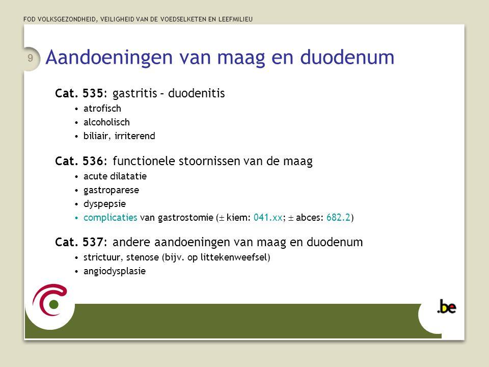 FOD VOLKSGEZONDHEID, VEILIGHEID VAN DE VOEDSELKETEN EN LEEFMILIEU 9 Aandoeningen van maag en duodenum Cat. 535:gastritis – duodenitis atrofisch alcoho
