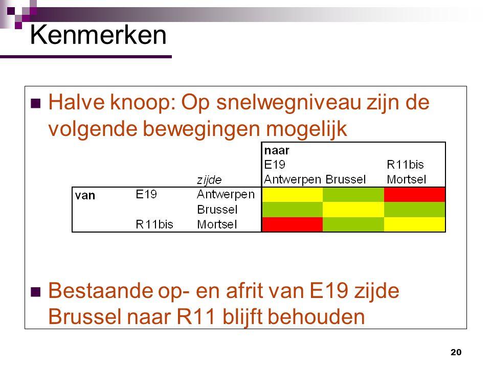 20 Halve knoop: Op snelwegniveau zijn de volgende bewegingen mogelijk Bestaande op- en afrit van E19 zijde Brussel naar R11 blijft behouden Kenmerken