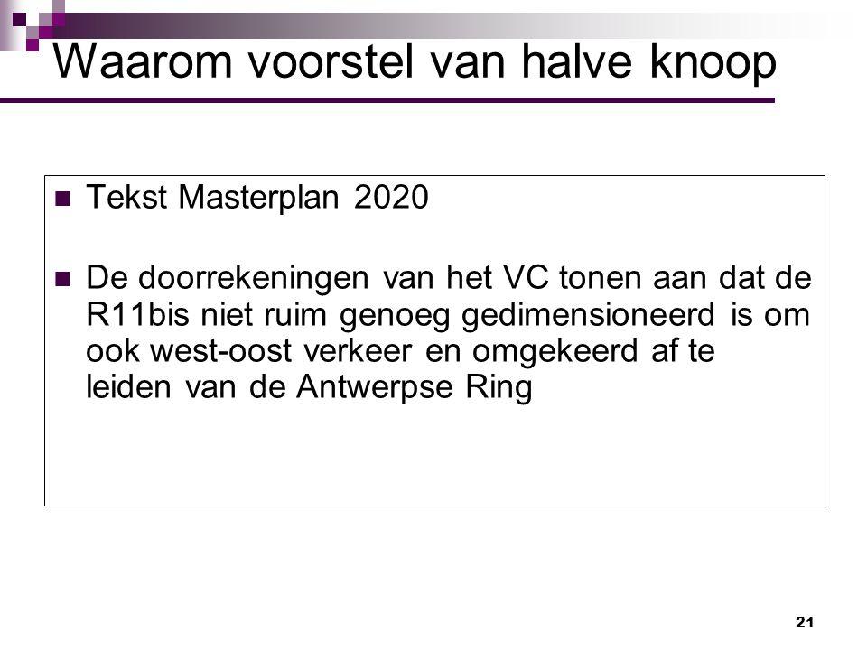 21 Tekst Masterplan 2020 De doorrekeningen van het VC tonen aan dat de R11bis niet ruim genoeg gedimensioneerd is om ook west-oost verkeer en omgekeer