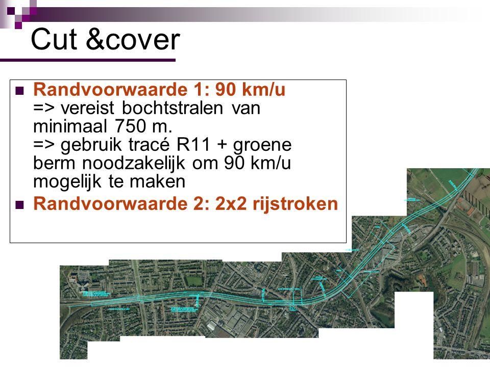 25 Randvoorwaarde 1: 90 km/u => vereist bochtstralen van minimaal 750 m. => gebruik tracé R11 + groene berm noodzakelijk om 90 km/u mogelijk te maken