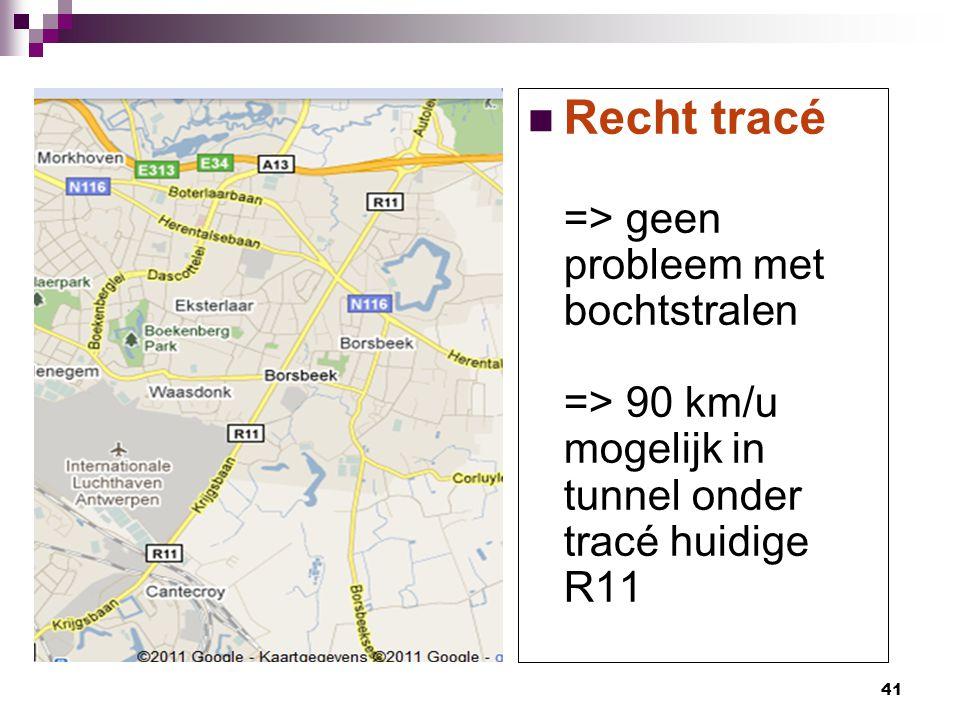 41 Recht tracé => geen probleem met bochtstralen => 90 km/u mogelijk in tunnel onder tracé huidige R11