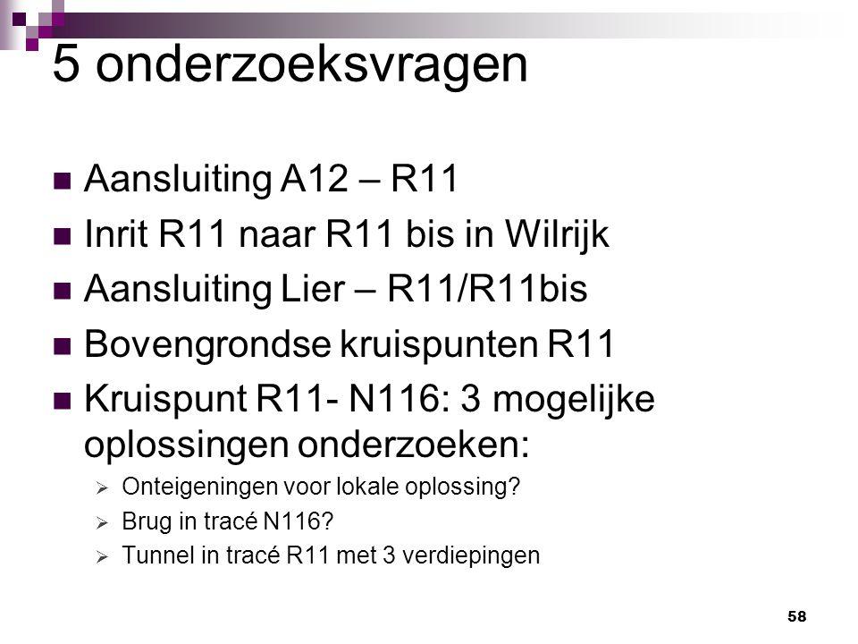 58 5 onderzoeksvragen Aansluiting A12 – R11 Inrit R11 naar R11 bis in Wilrijk Aansluiting Lier – R11/R11bis Bovengrondse kruispunten R11 Kruispunt R11