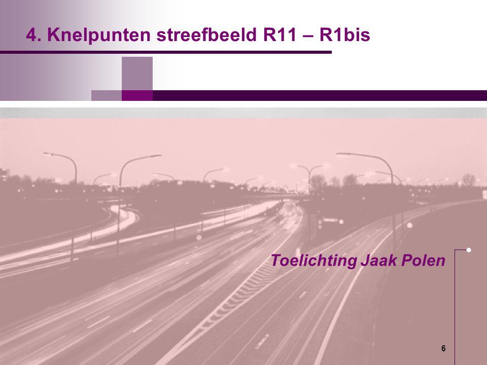 6 6 4. Knelpunten streefbeeld R11 – R1bis Toelichting Jaak Polen