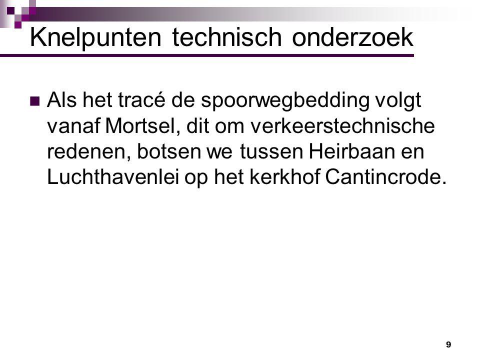 9 Knelpunten technisch onderzoek Als het tracé de spoorwegbedding volgt vanaf Mortsel, dit om verkeerstechnische redenen, botsen we tussen Heirbaan en
