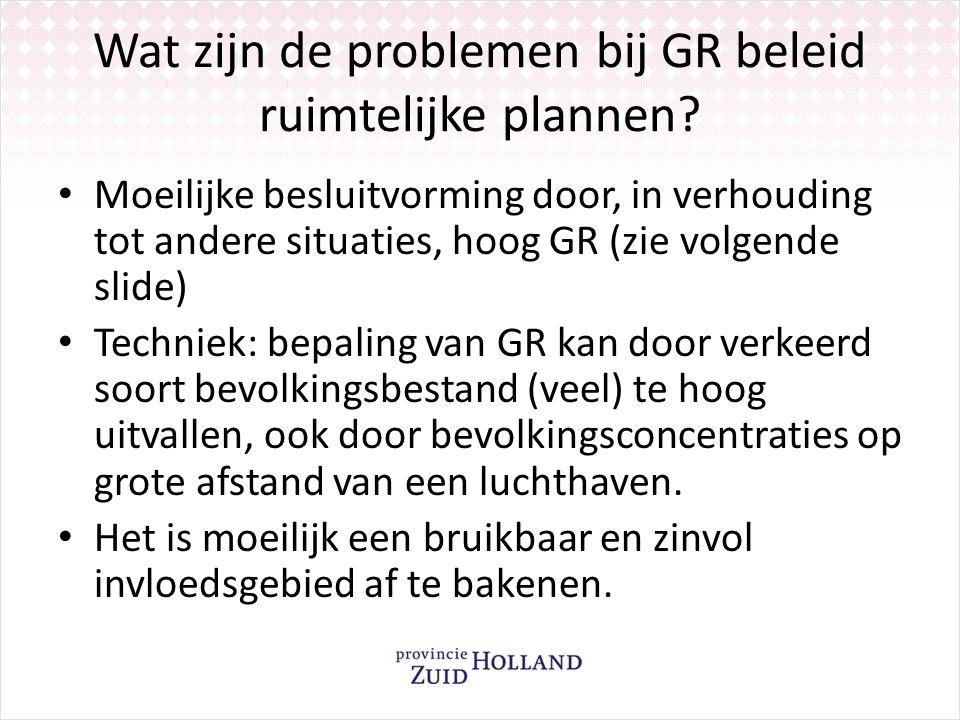 Wat zijn de problemen bij GR beleid ruimtelijke plannen? Moeilijke besluitvorming door, in verhouding tot andere situaties, hoog GR (zie volgende slid