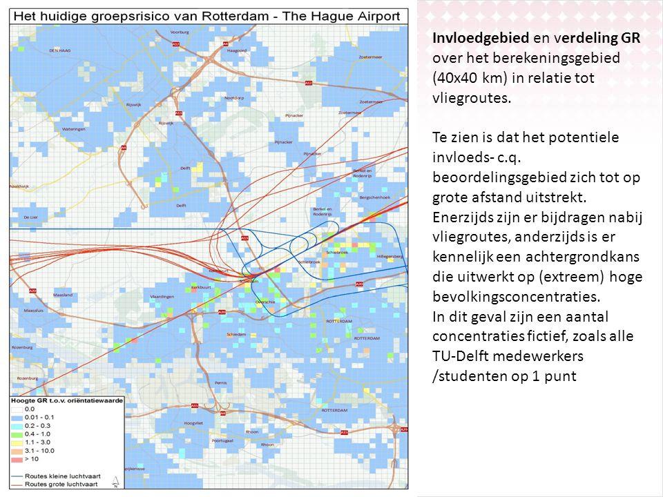 Invloedgebied en verdeling GR over het berekeningsgebied (40x40 km) in relatie tot vliegroutes. Te zien is dat het potentiele invloeds- c.q. beoordeli