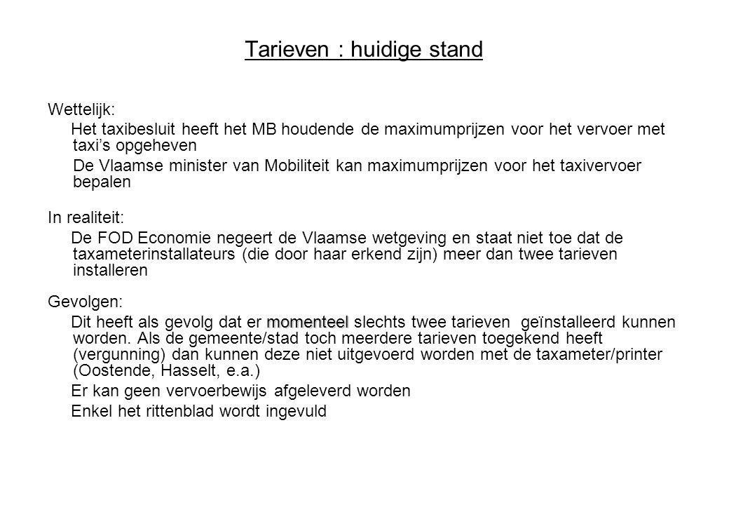 Tarieven : huidige stand Wettelijk: Het taxibesluit heeft het MB houdende de maximumprijzen voor het vervoer met taxi's opgeheven De Vlaamse minister