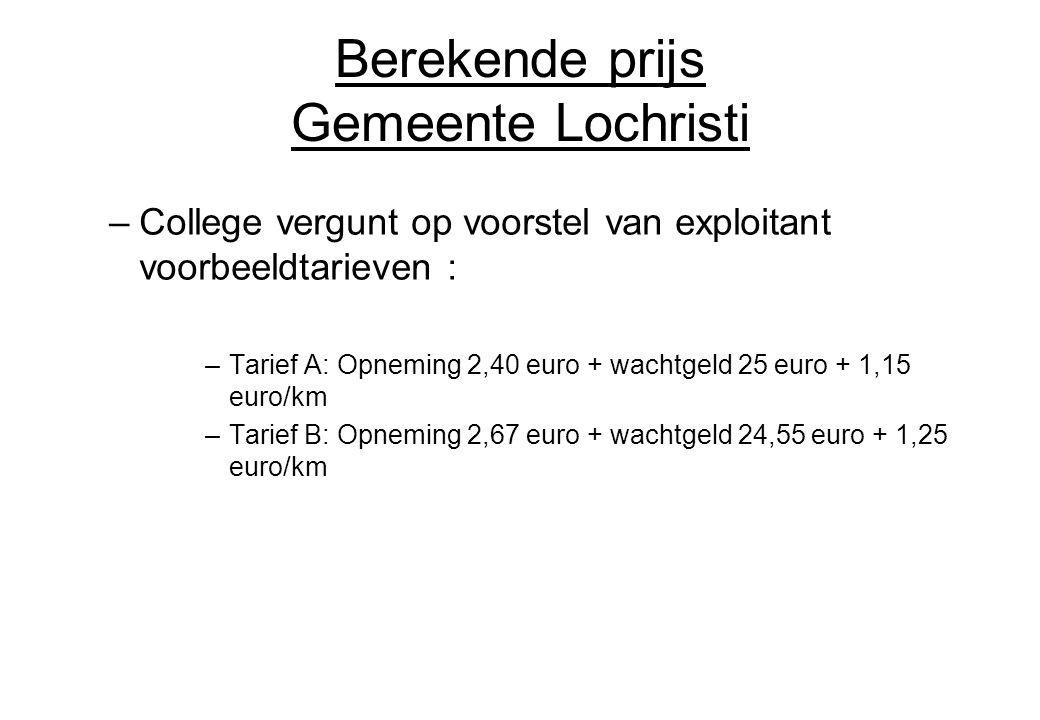 Berekende prijs Gemeente Lochristi –College vergunt op voorstel van exploitant voorbeeldtarieven : –Tarief A: Opneming 2,40 euro + wachtgeld 25 euro +