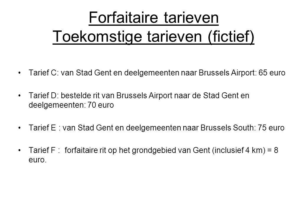 Forfaitaire tarieven Toekomstige tarieven (fictief) Tarief C: van Stad Gent en deelgemeenten naar Brussels Airport: 65 euro Tarief D: bestelde rit van