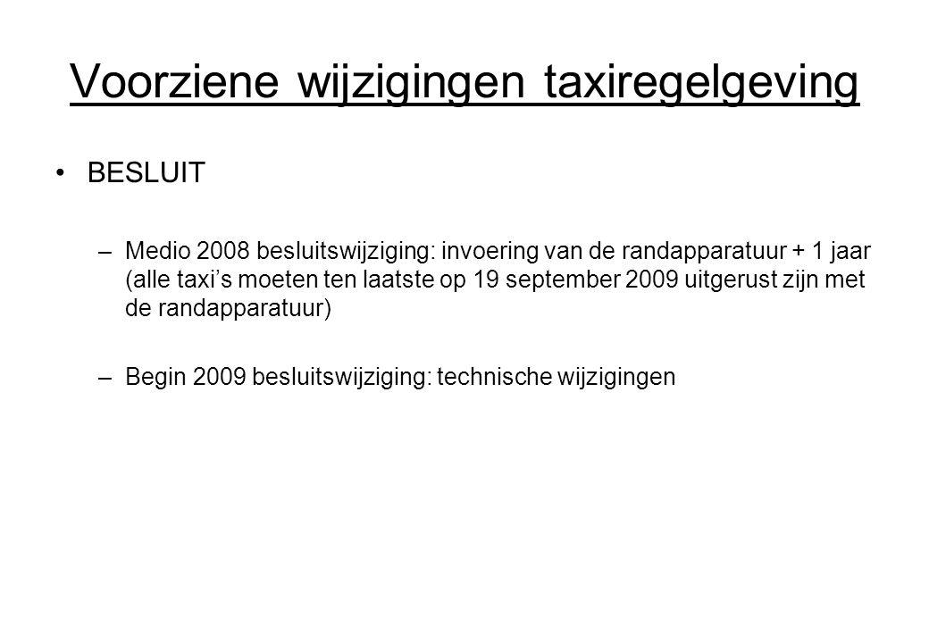 Voorziene wijzigingen taxiregelgeving BESLUIT –Medio 2008 besluitswijziging: invoering van de randapparatuur + 1 jaar (alle taxi's moeten ten laatste