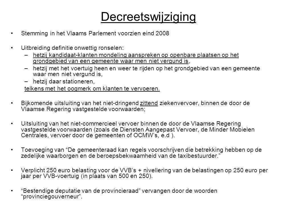 Decreetswijziging Stemming in het Vlaams Parlement voorzien eind 2008 Uitbreiding definitie onwettig ronselen: –hetzij kandidaat-klanten mondeling aan