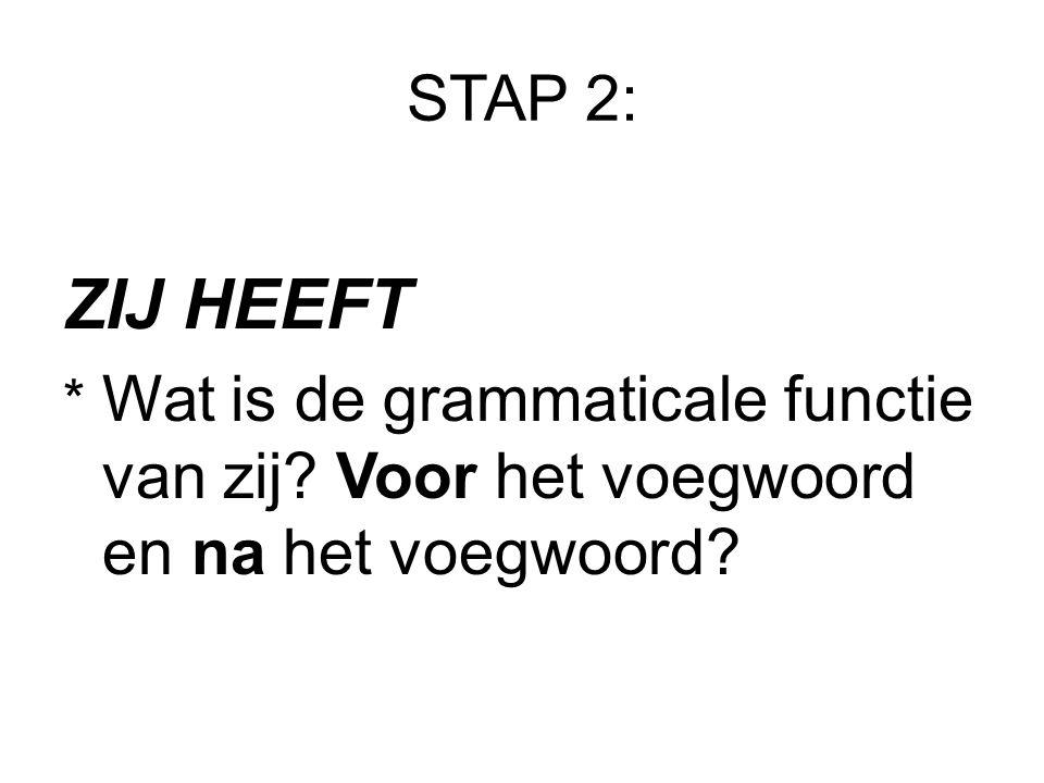STAP 2: ZIJ HEEFT * Wat is de grammaticale functie van zij? Voor het voegwoord en na het voegwoord?