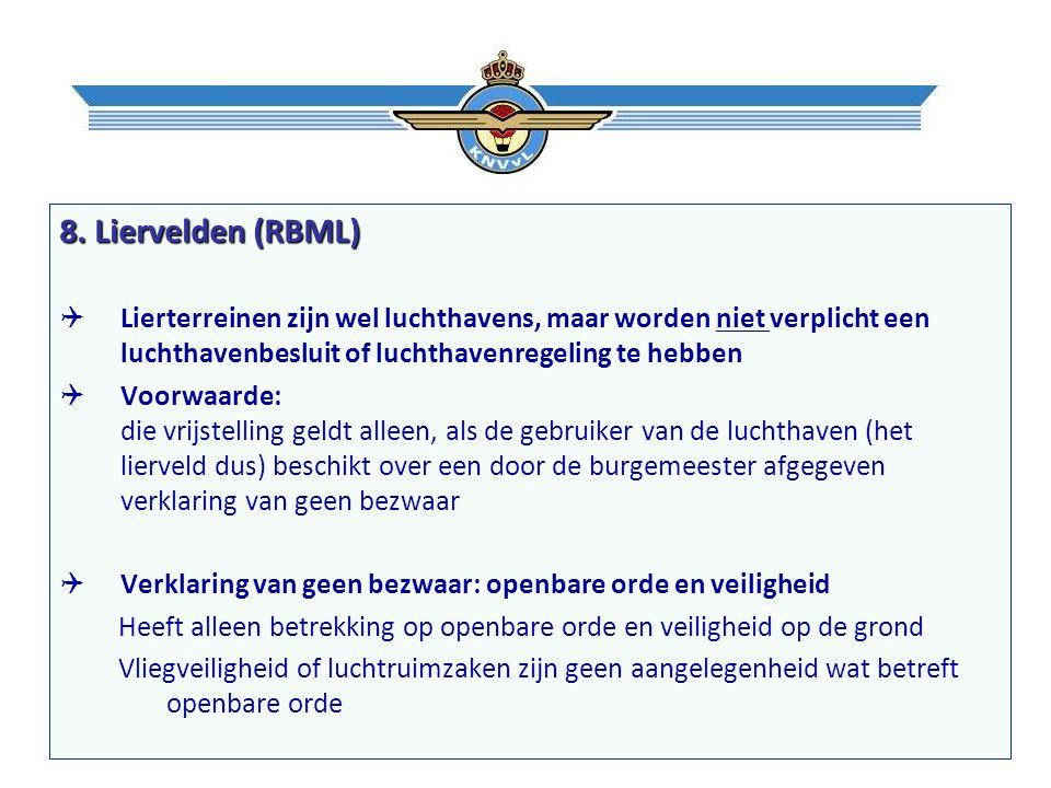 8. Liervelden (RBML)  Lierterreinen zijn wel luchthavens, maar worden niet verplicht een luchthavenbesluit of luchthavenregeling te hebben  Voorwaar