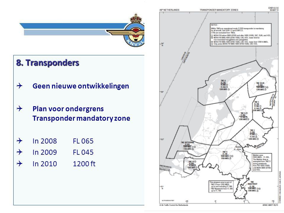 8. Transponders  Geen nieuwe ontwikkelingen  Plan voor ondergrens Transponder mandatory zone  In 2008FL 065  In 2009FL 045  In 2010 1200 ft