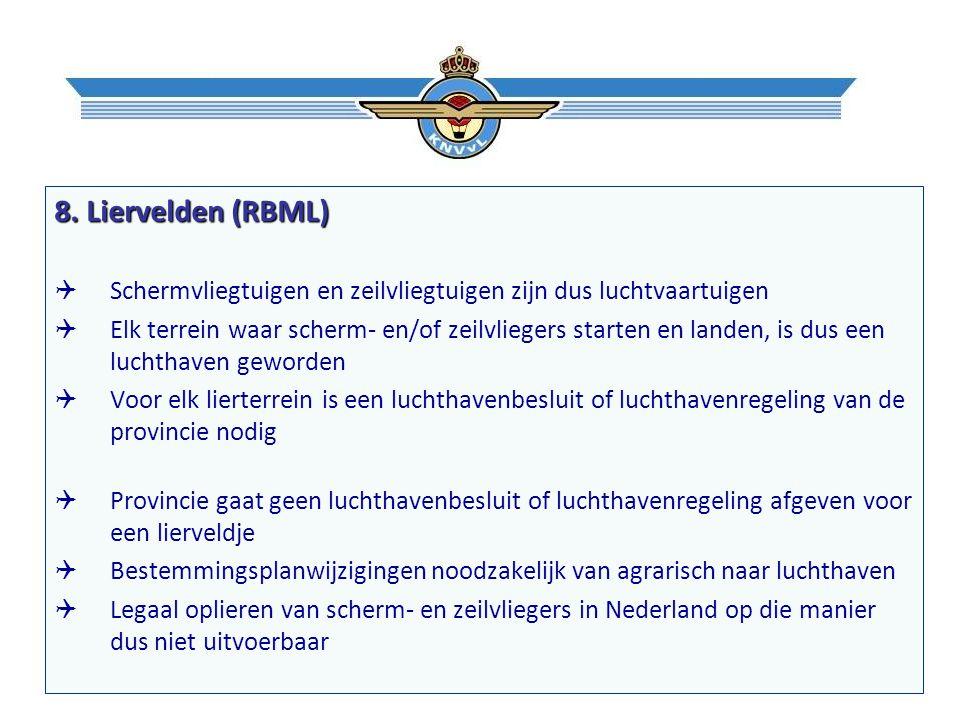 8. Liervelden (RBML)  Schermvliegtuigen en zeilvliegtuigen zijn dus luchtvaartuigen  Elk terrein waar scherm- en/of zeilvliegers starten en landen,