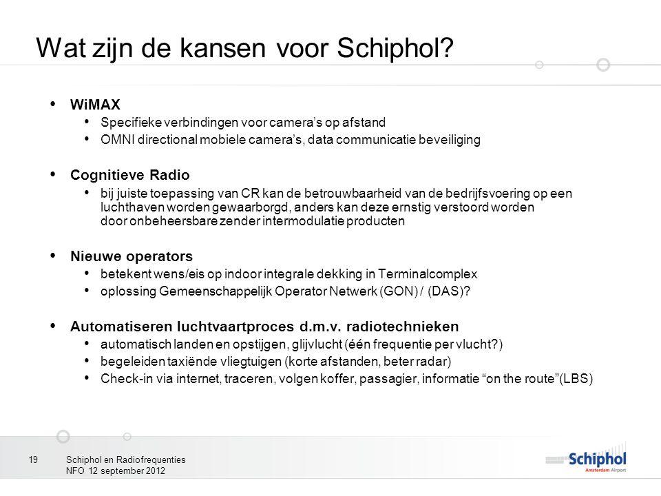 Schiphol en Radiofrequenties NFO 12 september 2012 19 Wat zijn de kansen voor Schiphol? WiMAX Specifieke verbindingen voor camera's op afstand OMNI di