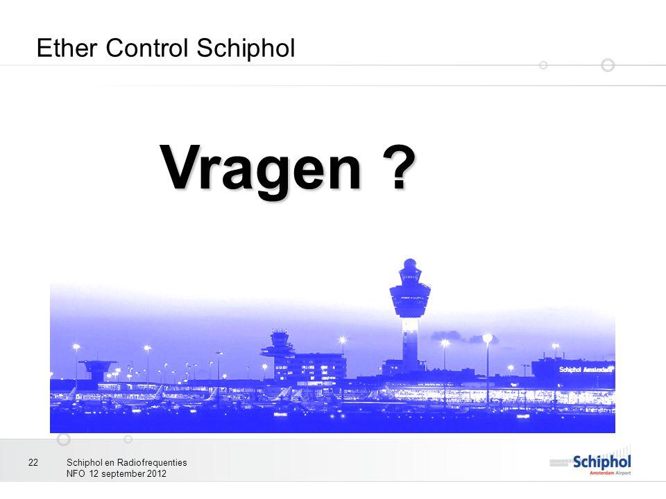 Schiphol en Radiofrequenties NFO 12 september 2012 22 Ether Control Schiphol Vragen ?