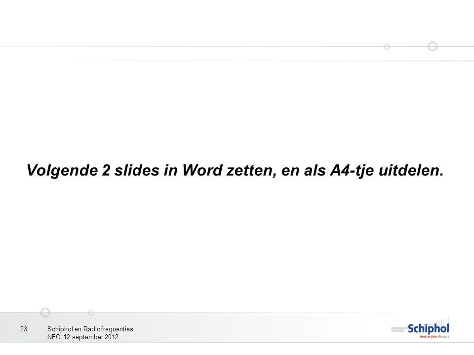 Schiphol en Radiofrequenties NFO 12 september 2012 23 Volgende 2 slides in Word zetten, en als A4-tje uitdelen.