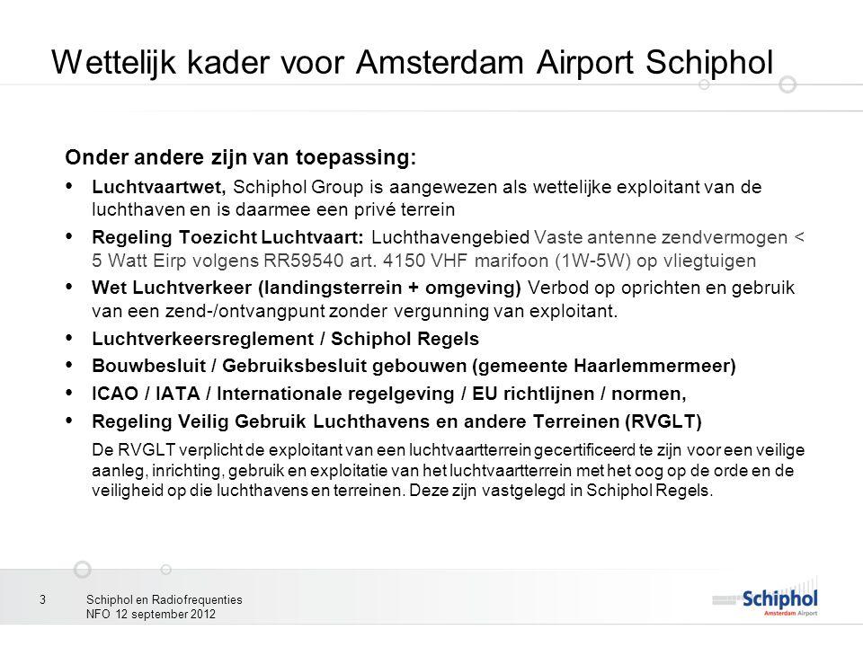 Schiphol en Radiofrequenties NFO 12 september 2012 3 Wettelijk kader voor Amsterdam Airport Schiphol Onder andere zijn van toepassing: Luchtvaartwet,