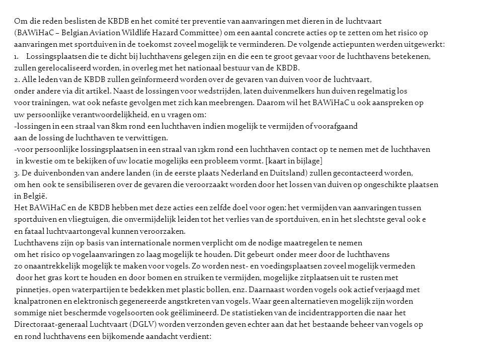 Om die reden beslisten de KBDB en het comité ter preventie van aanvaringen met dieren in de luchtvaart (BAWiHaC – Belgian Aviation Wildlife Hazard Com