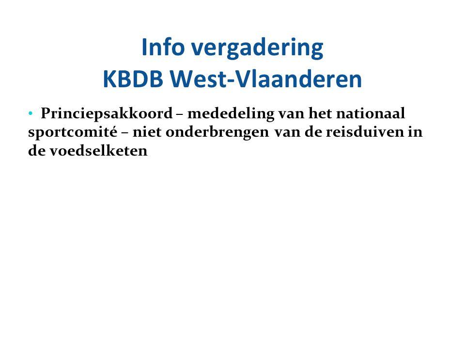 Info vergadering KBDB West-Vlaanderen Princiepsakkoord – mededeling van het nationaal sportcomité – niet onderbrengen van de reisduiven in de voedselk