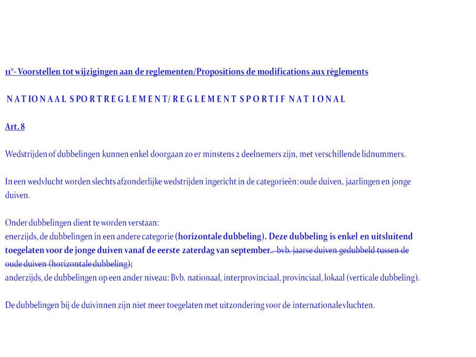 Info vergadering KBDB Organisatie van het komende vluchtseizoen 2014 : a) Data en lossingsplaatsen van de nationale en internationale wedvluchten
