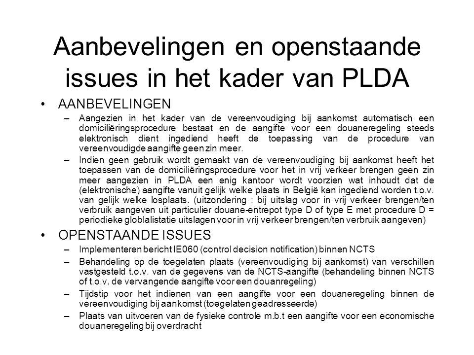 Vereenvoudiging bij vertrek Scenario met NCTS TALA PLDA NCTS (1) (2) (5) (3) (6) LEGENDA LALaadplaats in een luchthaven of zeehaven (te beschouwen als kantoor van bestemming in het kader van de doorvoerprocedure ?) TAToegelaten afzender (vereenvoudiging bij vertrek) welke tevens kan erkend ziijn als toegelaten exporteur of als vergunninghouder economische douaneregeling PLDAPLDA – Computersysteem Administratie douane & accijnzen NCTSNCTS – Computersysteem Administratie douane & accijnzen BEWEGINGEN (1)Indienen aangifte voor uitvoer (indien vereist) door toegelaten exporteur/vergunninghouder economische douaneregeling (2)Indienen NCTS-aangifte bij vertrek door toegelaten afzender (aangifte kan eventueel worden ingediend via PLDA-SADBEL +) (3)Aanzuiveren aangifte voor uitvoer door NCTS-aangifte (4)Beslissing tot het al dan niet uitvoeren van een fysieke controle binnen NCTS (5)Vervoer van de toegelaten plaats (in het kader van de vereenvoudiging bij vertrek) naar de laadplaats onder dekking van het begeleidingsdocument van de NCTS-aangifte (6)Behandeling van de NCTS-aangifte bij aankomst van de zending op de laadplaats (4)