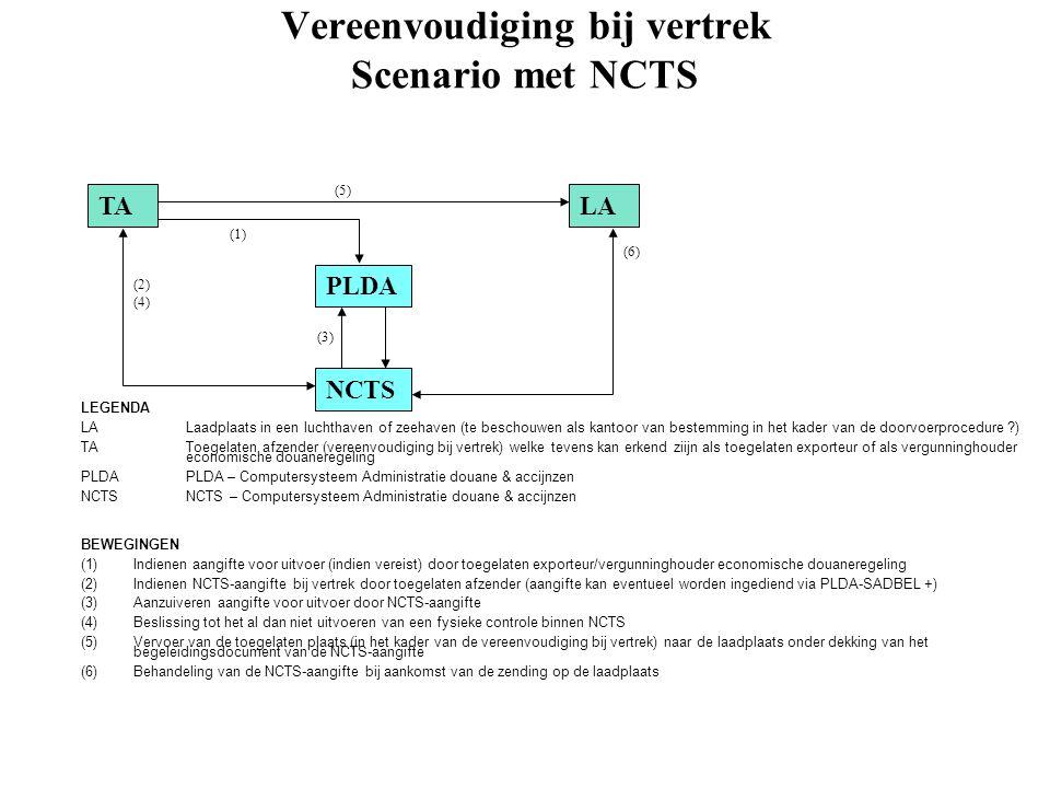 Vereenvoudiging bij vertrek Scenario met NCTS TALA PLDA NCTS (1) (2) (5) (3) (6) LEGENDA LALaadplaats in een luchthaven of zeehaven (te beschouwen als