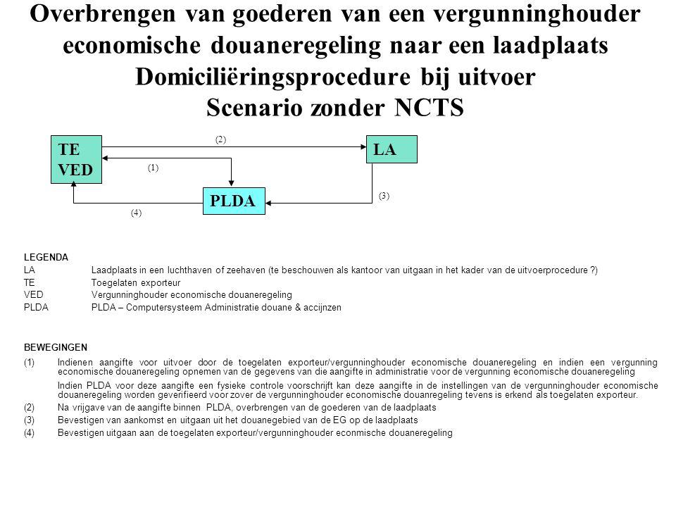 Overbrengen van goederen van een vergunninghouder economische douaneregeling naar een laadplaats Domiciliëringsprocedure bij uitvoer Scenario zonder N